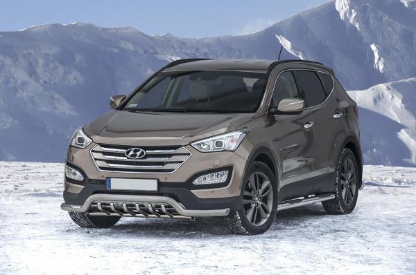Product: EU low spoiler bar with axle-bar Hyundai Santa fe 2013-   4x4 TUNING